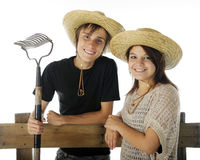 Happy Teen Farm Couple Stock Photos