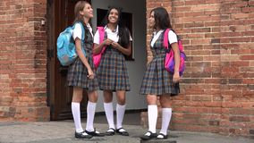 Happy Teen Female Students Socializing Stock Photos
