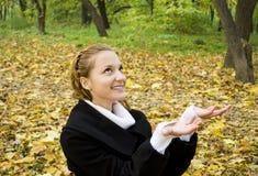 Happy teen girl in autumn park Stock Photo