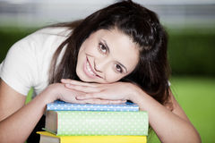 Happy teen girl with books Stock Photo