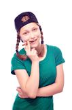 Happy teen girl in cap Stock Images
