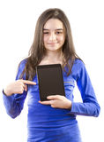 Happy teen girl with digital tablet Royalty Free Stock Photos