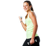 Happy teen girl doing fitness workout. Stock Images