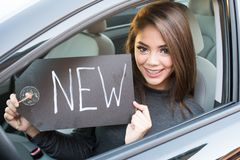 Teen Girl Driving Car Royalty Free Stock Images