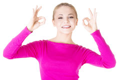 Happy teen girl gesturing perfect Stock Photography