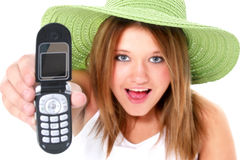 Happy Teen Girl In Green Hat With Cellphone Royalty Free Stock Photos