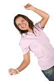 Happy teen girl with hands up Royalty Free Stock Photography