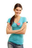 Happy teen girl with heart love symbol valentine Royalty Free Stock Images