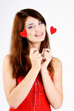 Happy  teen girl with hearts Royalty Free Stock Photo