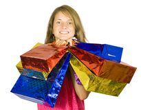 Happy teen girl holding shopping bags Royalty Free Stock Photos