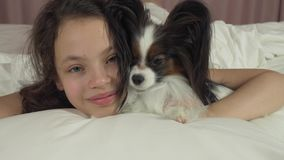 Happy teen girl kisses and plays with dog Papillon in bed stock footage video stock footage