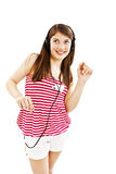 Happy teen girl listening to music Stock Photo
