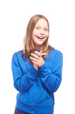 Happy teen girl making funny faces Royalty Free Stock Image