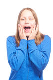 Happy teen girl making funny faces Royalty Free Stock Photography