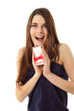 Happy teen girl opening valentine gift Stock Photo