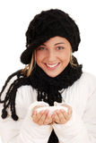 Happy teen girl with snow. Isolated Happy teen girl with snow Royalty Free Stock Image