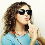 Happy teen girl with sunglasses Royalty Free Stock Images
