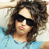 Happy teen girl with sunglasses Royalty Free Stock Image