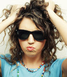 Happy teen girl with sunglasses Royalty Free Stock Photography