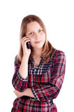 Happy teen girl talking on mobile phone Stock Photography