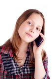 Happy teen girl talking on mobile phone Stock Image