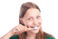 Happy teen girl with toothbrush Royalty Free Stock Images