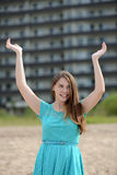 Happy teen girl on vacation at a resort Royalty Free Stock Image