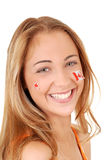 Happy teen girl wearing canada day stickers Stock Images
