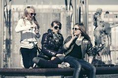 Happy teen girls in city street Royalty Free Stock Photos