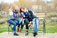 Happy teen girls hug & having fun Royalty Free Stock Photos