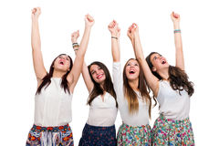 Happy Teen Girls raising arms royalty free stock image