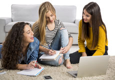 Girls studying at home Stock Photo