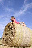 Happy Teen Having Fun On Hay Bales Royalty Free Stock Photography