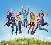 Happy teen jumpers Royalty Free Stock Image