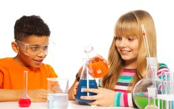 Happy Teen Kids In The Lab Royalty Free Stock Photos