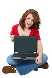 Happy Teen with Laptop Stock Image