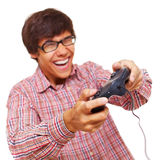 Happy teen play video game Stock Photos