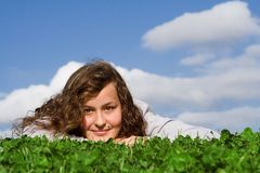 Happy teen relaxing in summr Stock Photos