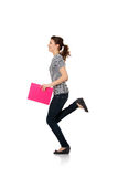 Happy teen student girl running Royalty Free Stock Photography