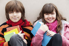 Happy teen students smiling Stock Images