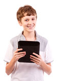 Happy teen with tablet computer Stock Photos