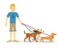 Happy teen walking with dog pet flat illustration Stock Image
