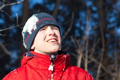 Happy teen in winterwear, outdoor Stock Images