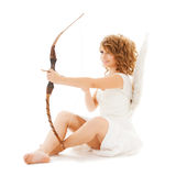 Happy teenage angel girl with bow and arrow Royalty Free Stock Photos