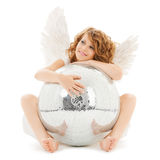 Happy teenage angel girl with disco ball Royalty Free Stock Photography