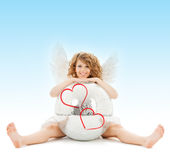 Happy teenage angel girl with disco ball Royalty Free Stock Photo