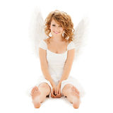 Happy teenage angel girl Stock Images