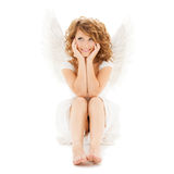 Happy teenage angel girl Stock Photos