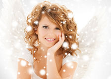 Happy teenage angel girl royalty free stock photos