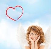 Happy teenage angel girl Stock Photos